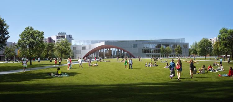 Vista desde el este a través del futuro patio. Image © Snøhetta