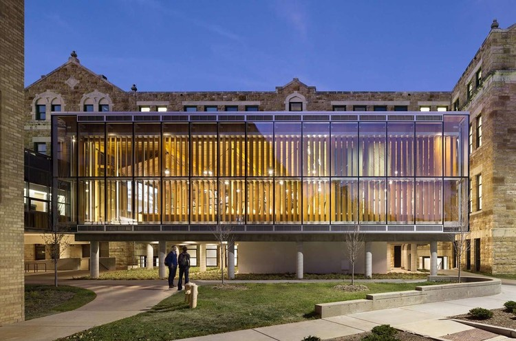 How University Construction Projects Offer Opportunities to Reform Architecture Education, University of Kansas, The Forum at Marvin Hall, 2014. Image © James Ewing Photography