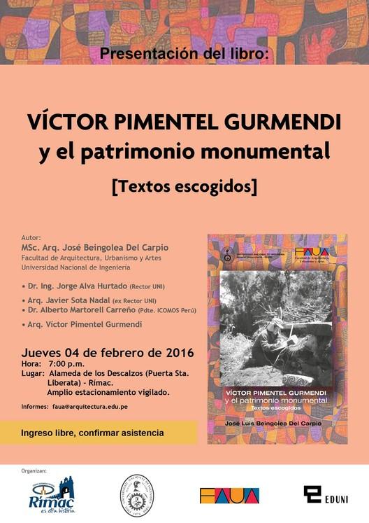 """Presentación del libro """"Víctor Pimentel Gurmendi y el patrimonio monumental"""", vía Editorial FAUA"""