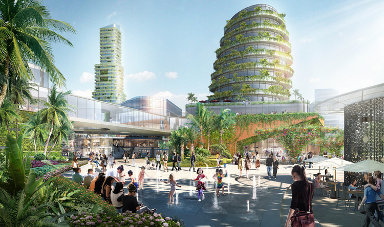"Sasaki's ""Forest City"" Master Plan in Iskandar Malaysia Stretches Across 4 Islands, Rendered VIew. Image Courtesy of Sasaki Associates"