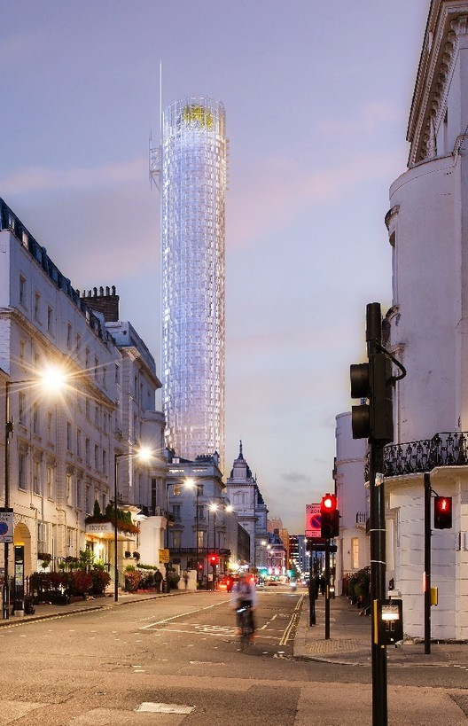 Rendering of the scrapped Paddington tower. Image © RPBW