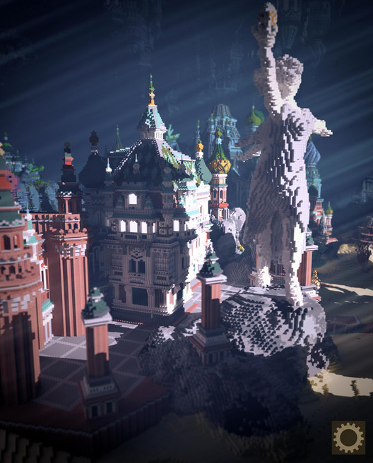 "Built for the Planet Minecraft ""Underwater Wonderland Contest,"" the Faberzhe Palace blends fantasy and Slavic architectural styles. Image Courtesy of BlockWorks"