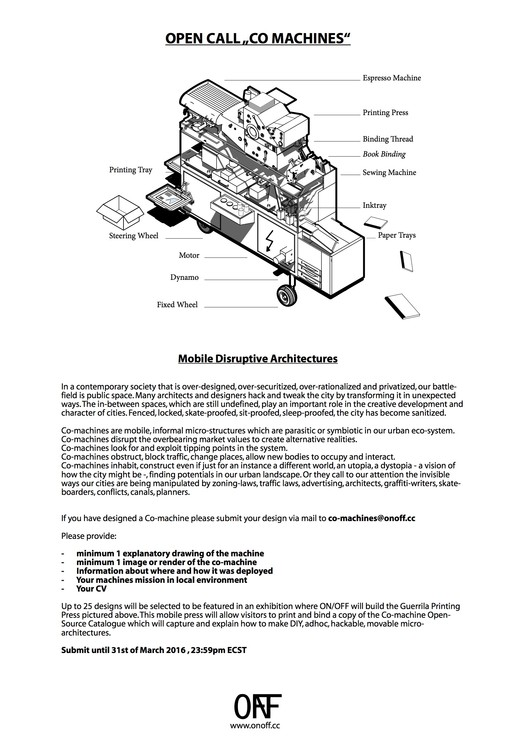 Open Call: Co-Machines - Mobile Disruptive Architectures