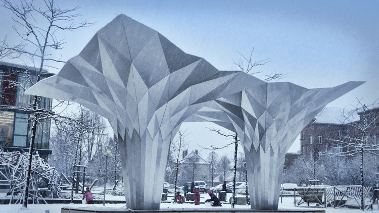 Origami Pavilion Creates Shelter with 8 Folded Aluminum Sheets, Courtesy of Tal Friedman