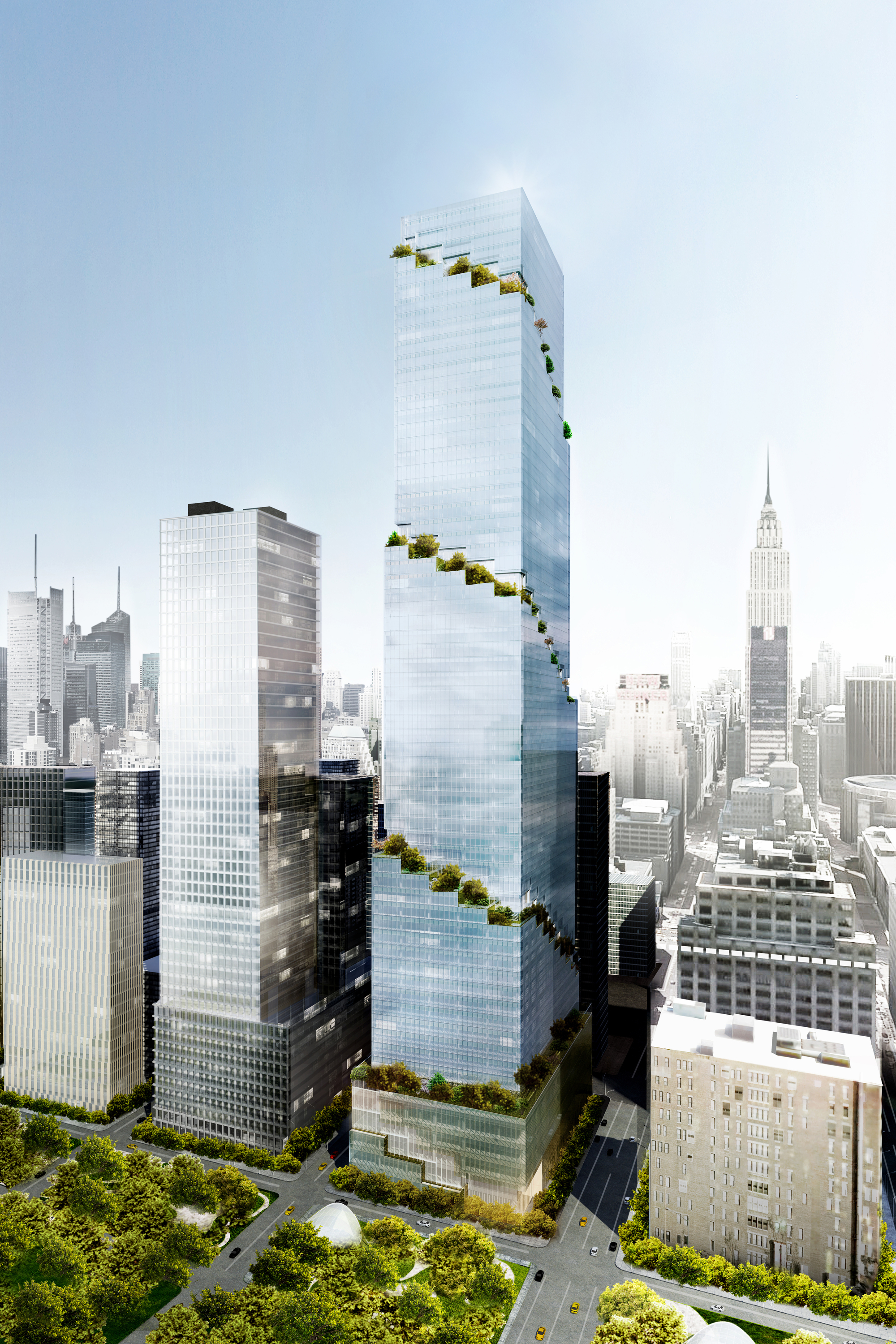 Big to extend high line vertically with spiral tower for B b new york centro