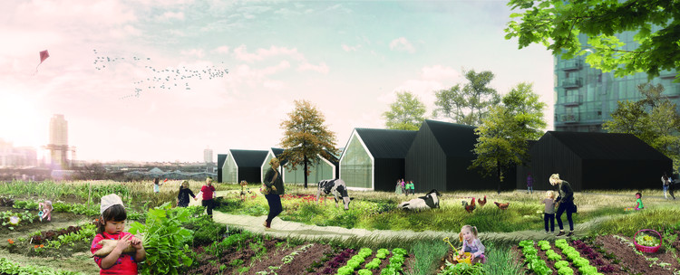 """Nursery Fields Forever"" Reconnects Early Childhood Education with Nature, Exterior Rendered View. Image Courtesy of Jonathan Lazar"
