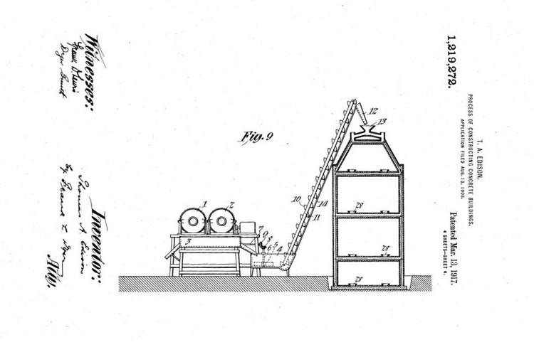 El intento fallido de Thomas Edison para crear innovadoras casas de hormigón, Los planos iniciales de 1908 para la patente de Edison. Imagen vía Slate