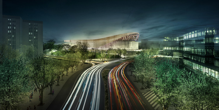 HOK and TAC Arquitectes Win Competition to Design Palau Blaugrana at FC Barcelona, Exterior Rendered View. Image Courtesy of HOK