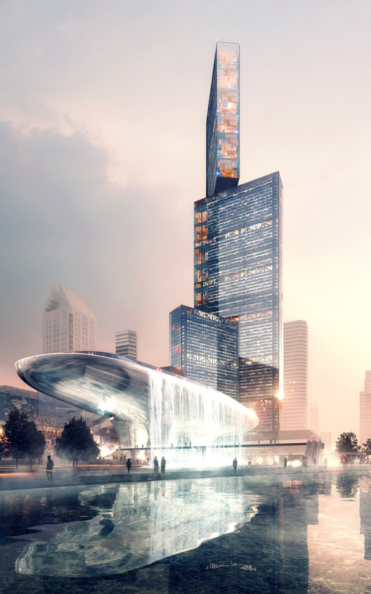 PLP Unveils Pearl River Delta's Tallest Building as Part of New Masterplan, Exterior Rendered View. Image © Luxigon