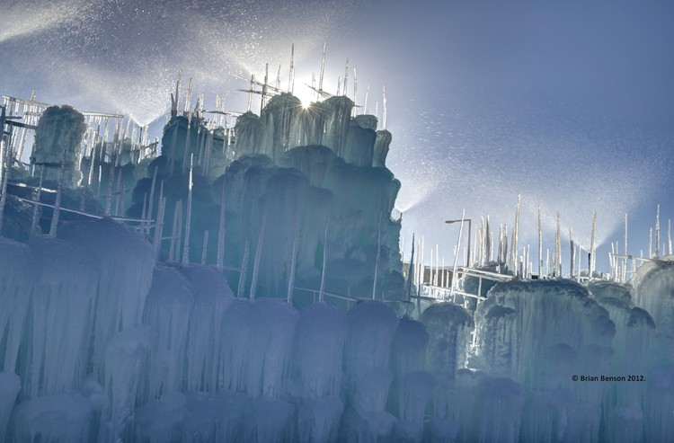 The castles are created by spraying water over a scaffold of icicles. Image © Brian Benson Courtesy of Ice Castles