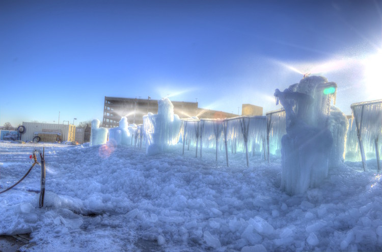 """Here's How a Utah Company Turns Water into Enchanting Castles of Ice, One of Ice Castles' """"icicle farms"""". Image © Brian Benson Courtesy of Ice Castles"""