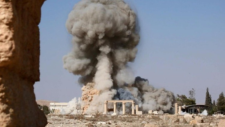 UNESCO and Italy Form Task Force to Protect Cultural Heritage in Conflict Areas, Destruction by the Islamic State of the Temple of Baalshamin in Palmyra (Syria) in August 2015. Image © Wikipedia licensed under CC BY 2.0