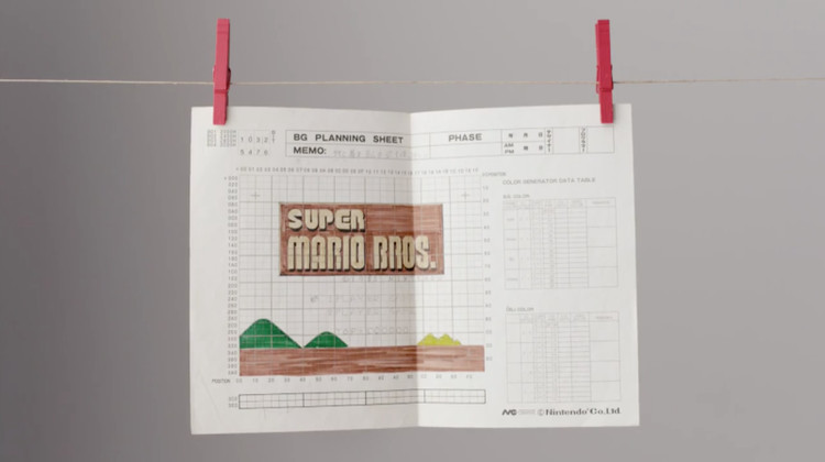These Sheets of Graph Paper Were Used to Design Super Mario Bros, via Nintendo [Youtube]
