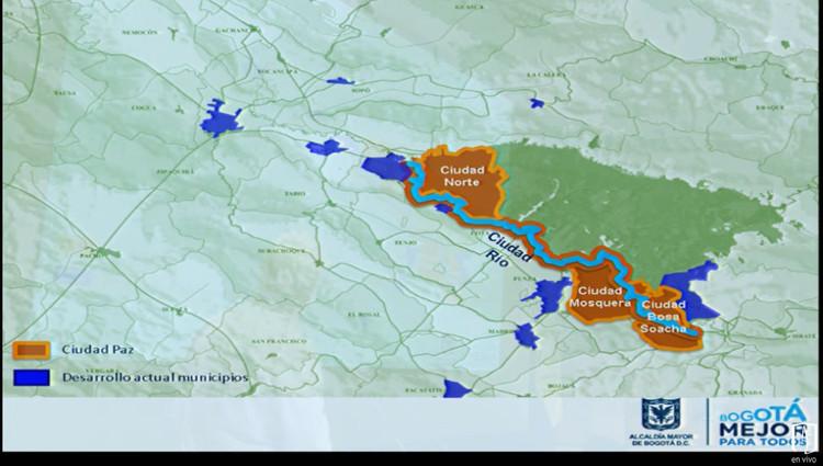 Proyección de Bogotá tras hipotética incorporación de 'Ciudad Norte'. Image vía Foro 'El futuro de la reserva forestal Thomas van der Hammen' / Streamming
