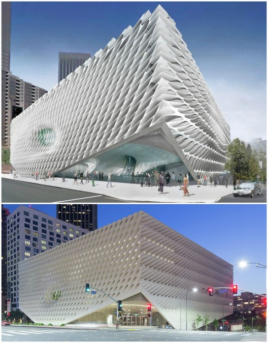 The proposed facade compared to the design as-built. Top image courtesy of Diller Scofidio + Renfro; bottom image © Iwan Baan