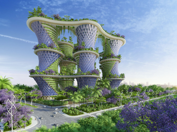 Vincent Callebaut's Hyperions Eco-Neighborhood Produces Energy in India, Courtesy of Vincent Callebaut Architectures