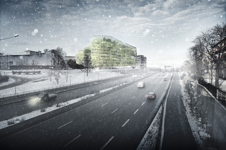 Rendered View from Nynäsvagen. Image Courtesy of Urban Design AB & SelgasCano