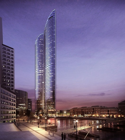 HOK's Hertsmere House Will Be the Tallest Residential Tower in Western Europe, via AJ © HOK