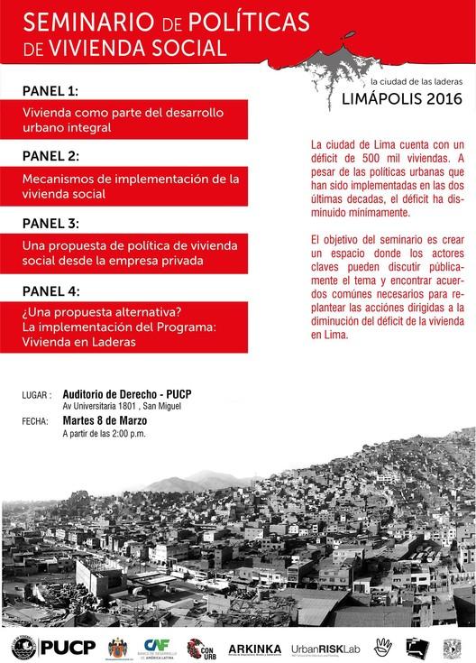 Seminario de Políticas de Vivienda Social. Limápolis 2016., vía Limápolis 2016