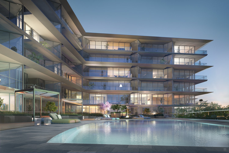 Rendered View of Pool at Night. Image Cortesía de Nadine Johnson & Associates
