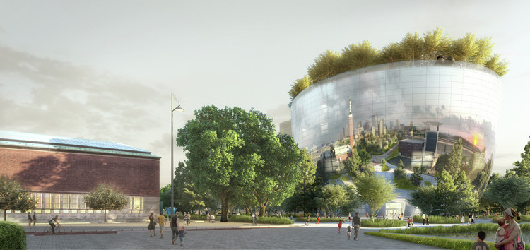 The proposed rooftop forest of the Museum Boijmans van Beuningen Art Depot was added to the design after testing its appearance with a render. Image © MVRDV