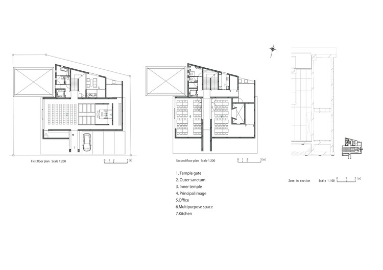 1st/2nd Floor Plan + Section