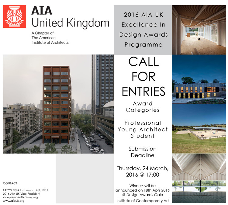 Call for Entries: AIA UK Excellence in Design Awards
