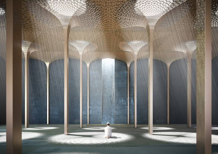 AL_A Wins Competition to Design Abu Dhabi Mosque, Prayer Hall. Image © AL_A