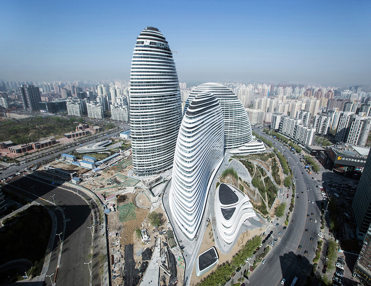 Zaha Hadid Architects' Wangjing Soho in China, which was copied by another developer in Chongqing. Image © Feng Chang