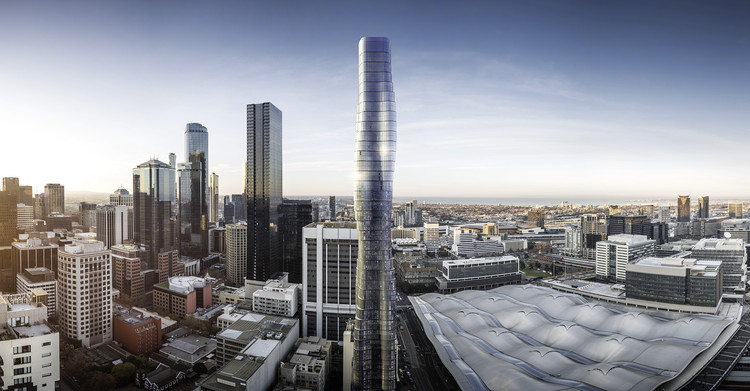 "Elenberg Fraser's ""Premier Tower"" in Melbourne was ""inspired by Beyonce's curves"". Image © Elenberg Fraser"
