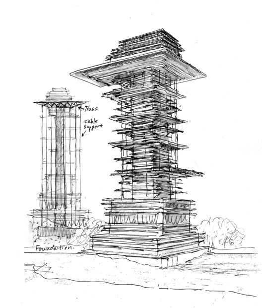 "Antilia 'Vertiscape"" Tower proposal (2003). Image © SITE"