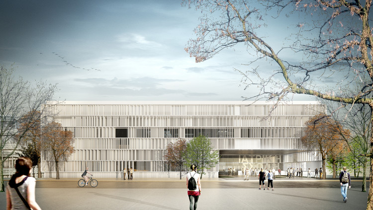 Miba Architects' University of Cyprus Medical School Proposal Combines Lab and Social Space, Exterior Rendered View. Image © Erik Gutierrez