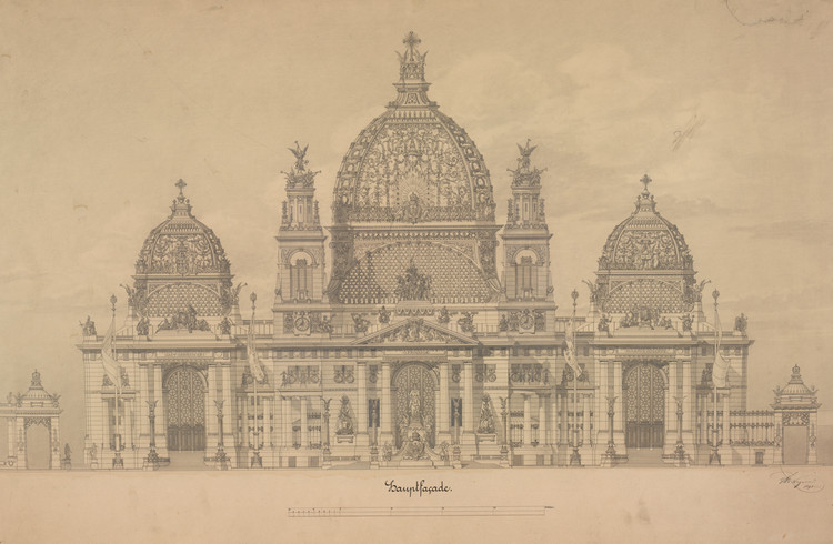 Exhibition: Architectural Master Drawings from the Albertina Collection, Otto Wagner (1841 – 1918) Project of the Cathedral in Berlin Façade elevation, 1891. Image © ALBERTINA, Wien