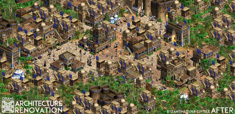 Ejemplo de ciudad de Oriente Medio en el Architecture Renovation Mod de Age of Empires. Vía www.reddit.com. Image