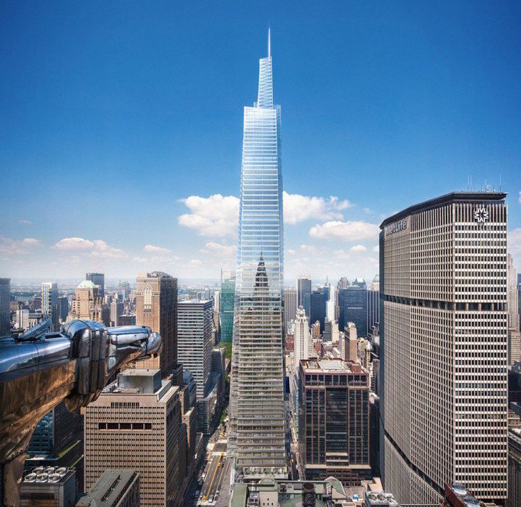 One Vanderbilt Avenue tower designed by Kohn Pedersen Fox for S. L. Green will tower over MetLife Building straddling Park Avenue. Image via 6sqft