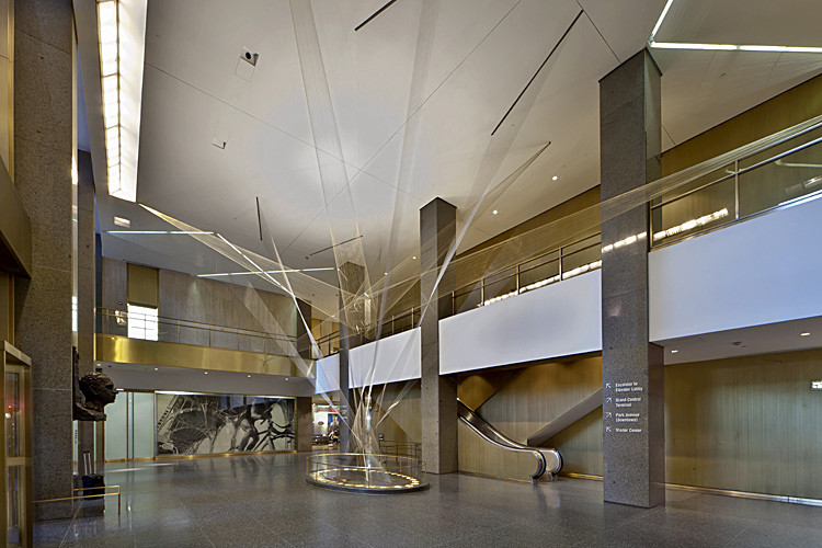 View of Richard Lippold's beautiful sculpture inside the Vanderbilt Avenue lobby. Image via 6sqft