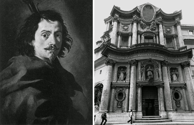 """""""Portrait of Francesco Borromini"""", by Nautilus.tv is licensed under Public Domain // """"San Carlo alle Quattro Fontane; Panorama"""" by Welleschik is licensed under CC BY-SA 3.0"""