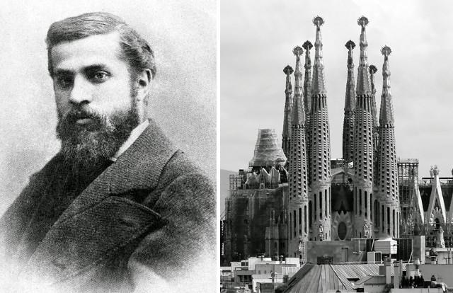"""""""Retrato de Antoni Gaudí (1878)"""" by Pablo Audouard Deglaire is licensed under Public Domain // """"Templo Expiatorio de la Sagrada Familia"""" by Bernard Gagnon is licensed under CC BY-SA 3.0"""