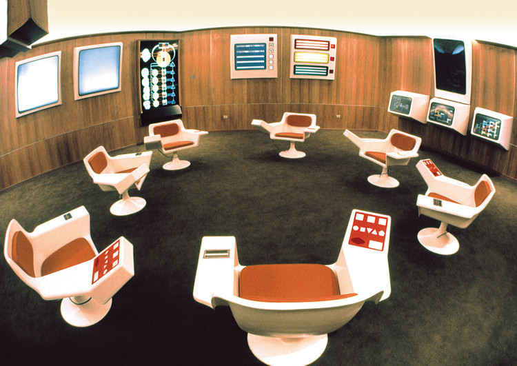 The Cybersyn operations room, inspiration for the Chilean installation. Image © Gui Bonsiepe