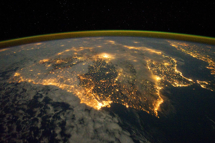 Will Your Building Withstand the Onslaught of the Technium?, Spain and Portugal seen from space. Image © Flickr user NASA Goddard Space Flight Center licensed under CC BY 2.0