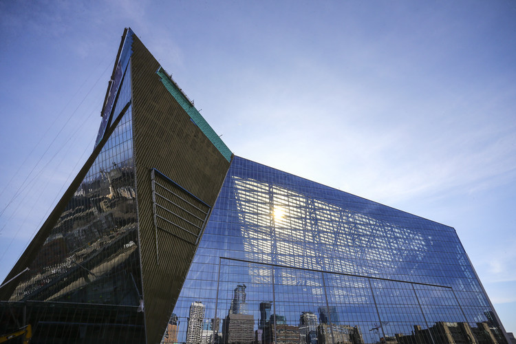 U.S. Bank Stadium: A Game-Changing, Multi-Purpose NFL Stadium, Sun on West Glass. Image Courtesy of Minnesota Vikings