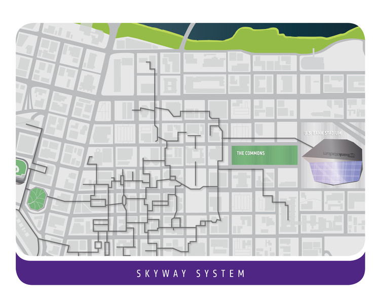 Stadium connection to Skyway System. Image Courtesy of Minnesota Vikings