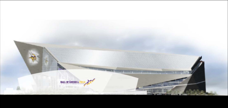 Size comparison: Metrodome vs. U.S. Bank Stadium. Image Courtesy of Minnesota Vikings