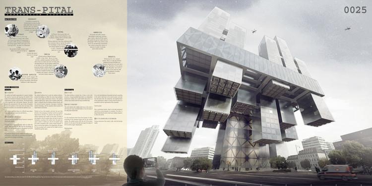 """Trans-Pital: Space Adaptive Skyscraper Hospital"" / Chen Linag, Jia Tongyu, Sun Bo, Wang Qun, Zhang Kai, Choi Minhye. Image Courtesy of eVolo"