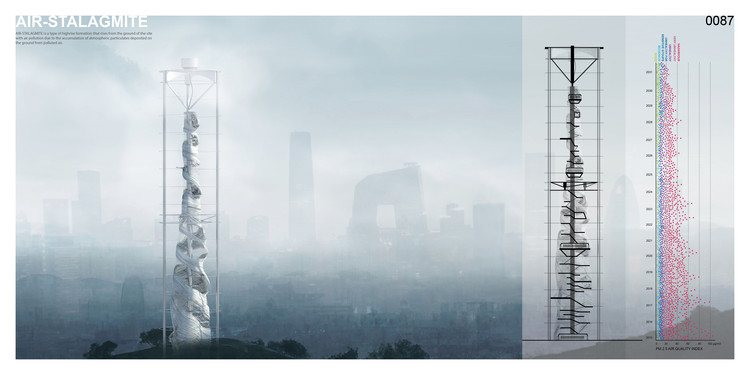 """Air-Stalagmite: A Skyscraper To Serve As A Beacon And Air Filter For Polluted Cities"" / Changsoo Park, Sizhe Chen. Image Courtesy of eVolo"