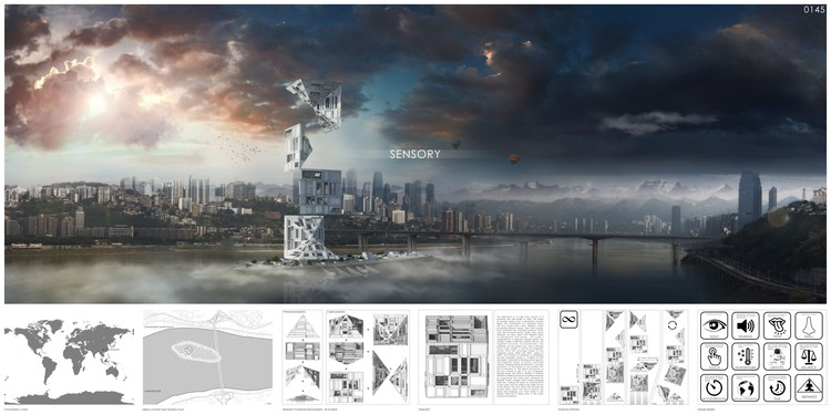 """Sensory Skyscraper"" / Alexandr Pincov, Heng Chang. Image Courtesy of eVolo"