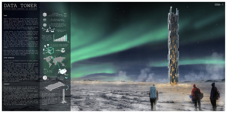 """Data Skyscraper: Sustainable Data Center in Iceland"" / Valeria Mercuri, Marco Merletti. Image Courtesy of eVolo"