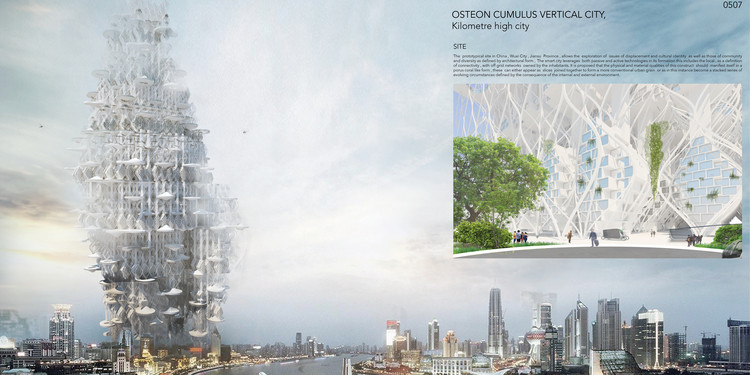 """Osteon Cumulus Vertical City: Kilometer-High City"" / Layton Reid, Adrian Jimenez Escarfullery, Sakib Hasan, Bryan Ruiz, Milot Pivera. Image Courtesy of eVolo"
