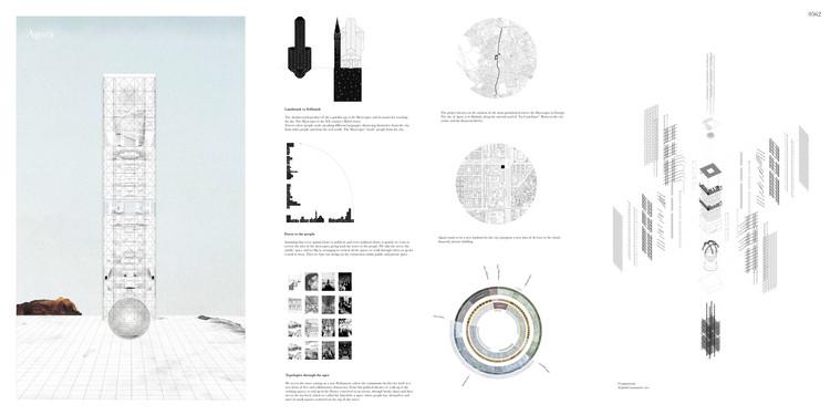 """""""Agora: Vertical Streetscape"""" / Alessandro Arcangeli, Filippo Fiorani. Image Courtesy of eVolo"""