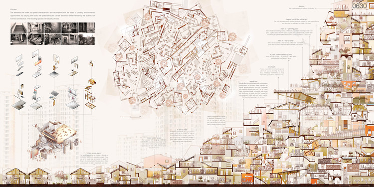 """Vertical Shanghai: Hyperlocal Monument Of The Global Housing Crisis"" / Yuta Sano, Eric Nakajima . Image Courtesy of eVolo"